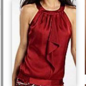 NWT  RUSTIC RED RUFFLE FRONT HALTER TOP XL
